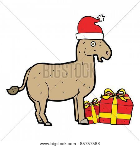 cartoon christmas donkey