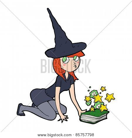 cartoon witch and spell book