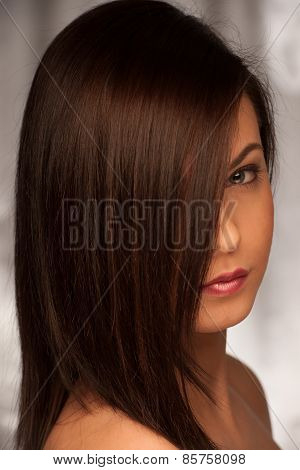 Beauty Studio Portrait Of Attractive Caucasian Woman With Brown Hair