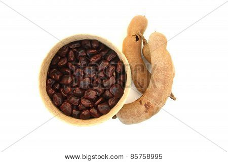 Tamarind And Tamarin Seed On White Background