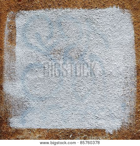 Creative Beautiful Brown Background Cracks And Scratches On The Concrete Square Of White Paint, With