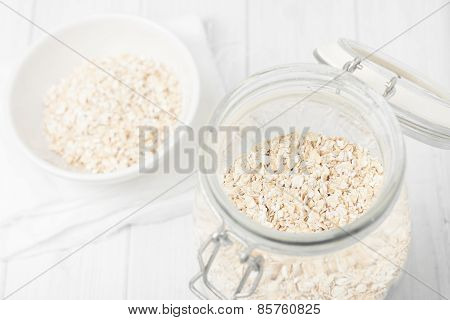 Uncooked Instant Oatmeal In Glass Jar, Shorth Depth Of Field