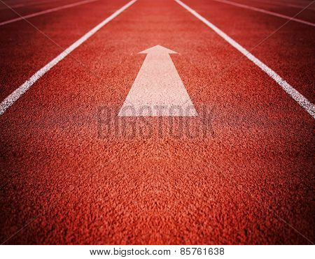 Athlete Track or Running Track with an arrow pointing good for business or motivation designs or graphic posters and meme images