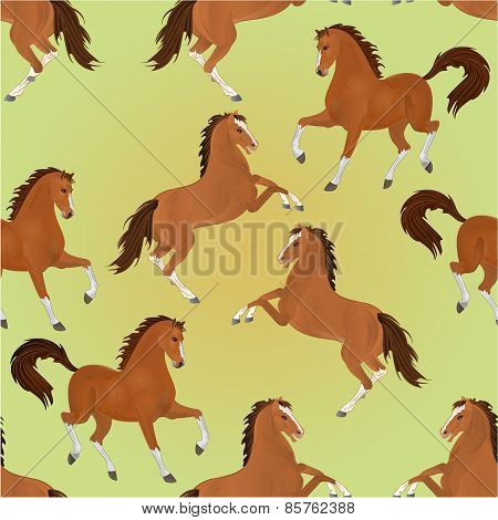 Seamless Texture Brown Horses Vector