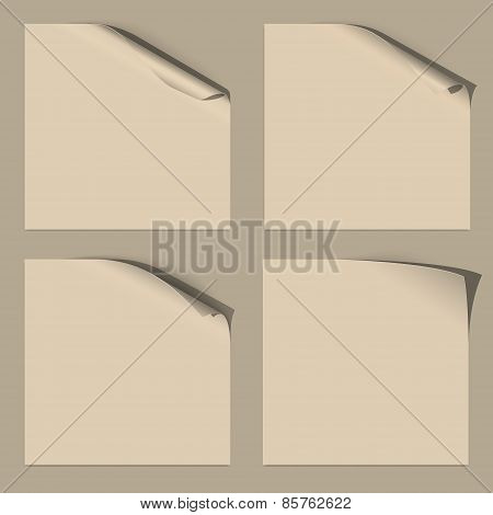 Set of White Empty Paper Sheets with Curled Corner for your Design