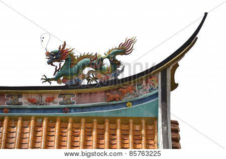 Dragon On The Top Of Chinese Temple