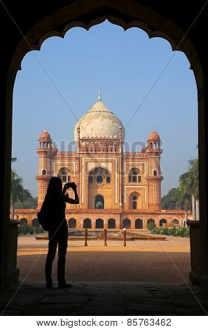 Tomb Of Safdarjung Seen From Main Gateway With Silhouetted Person Taking Photo, New Delhi, India
