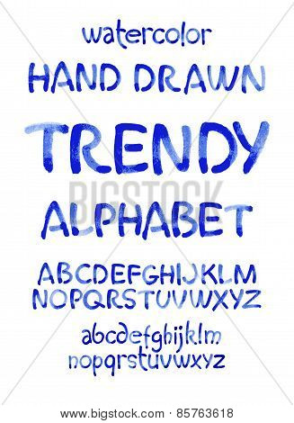 Watercolor hand written blue alphabet. Vector watercolor.