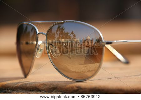 Tomb Of Safdarjung In New Delhi, India Reflected In Sunglasses