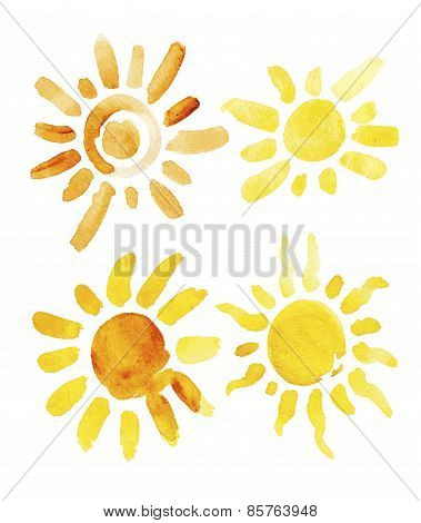 Hand drawn set of different suns isolated. Vector illustration. Elements for design. Watercolor