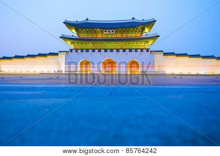 Twilight Of Gyeongbokgung Palace In Seoul, South Korea