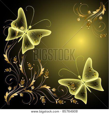 Butterflies And Golden Ornament