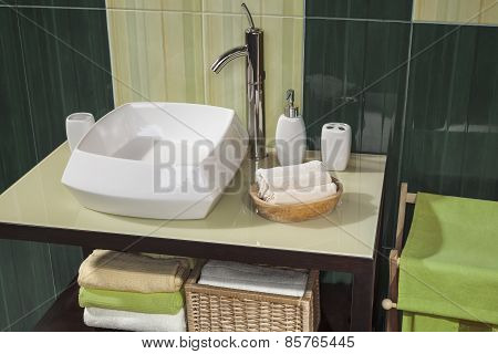 Detail Of A Green Modern Bathroom With Sink