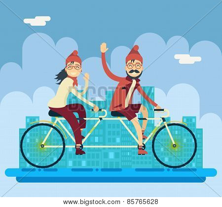 Hipster Male Female Characters Riding Companion Tandem Bicycle Concept Urban Landscape City Street B