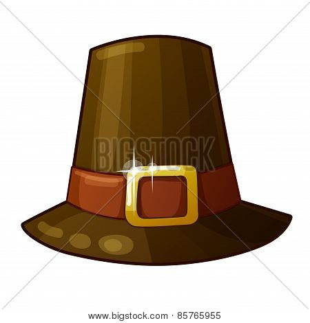 Detailed Icon. Pilgrim Hat isolated on white background