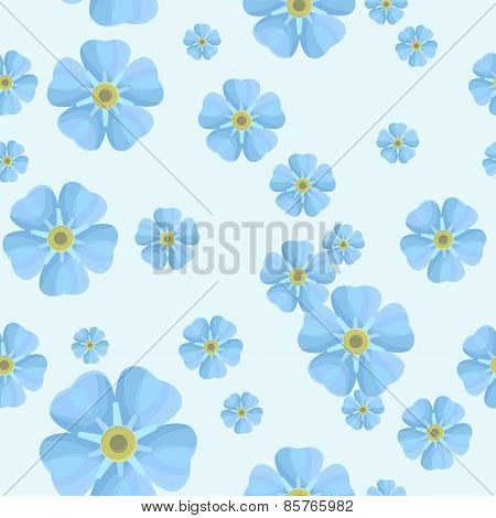 Summer seamless pattern with blue forget-me-nots