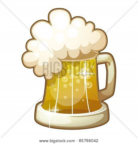 Detailed Icon. Mug of beer with foam isolated on white background