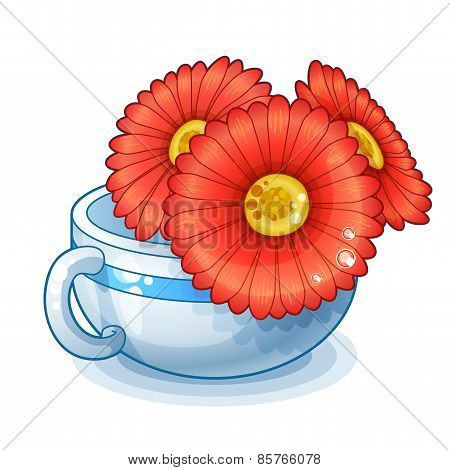 Detailed Icon. Red flowers in cup isolated on white background