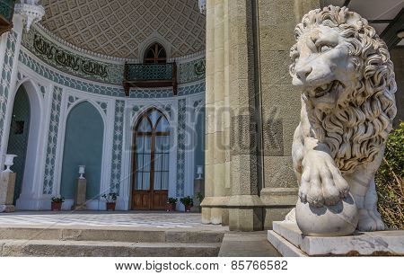 Marble Lion At The Vorontsov Palace Near  Alupka