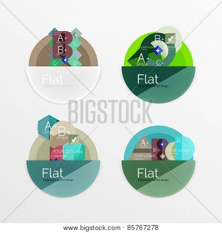 Set of flat design circle icons with geometric infographic diagrams, layouts