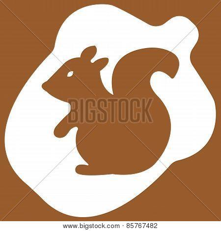 Vector illustration of acorn on brown background