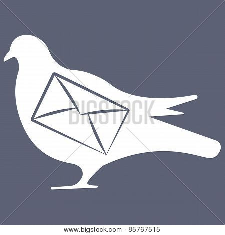 Vector illustration of pigeon on grey background