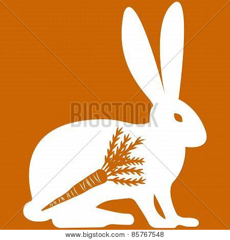 Vector illustration of hare on orange background