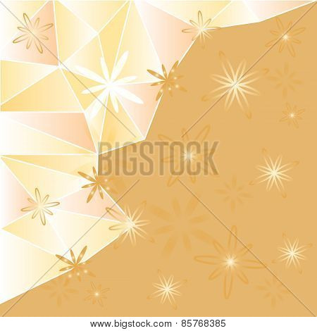 Geometric Polygon Background With Flowers.