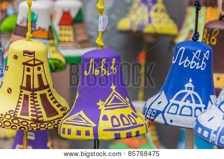 Colorful Little Painted Souvenir Bells Of Lviv