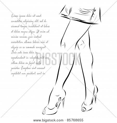 Illustration with legs of woman in fashion summer shoes