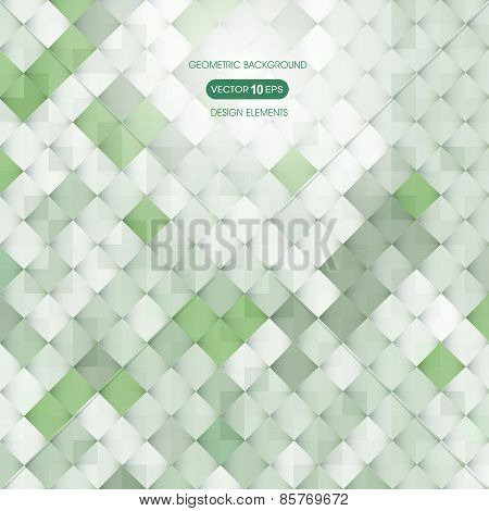 Abstract green background with elements of geometry, square