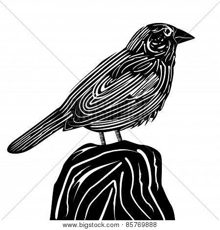 Linocut style sparrow