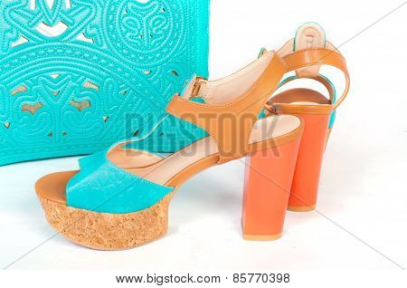Summer beautiful high heels and handbag