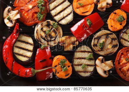Background Of Grilled Vegetables On Grill Horizontal Top View