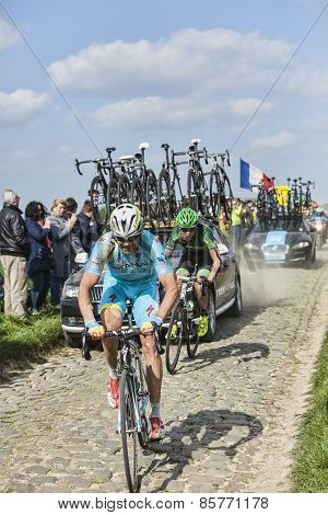 Two Cyclists On Paris Roubaix 2014