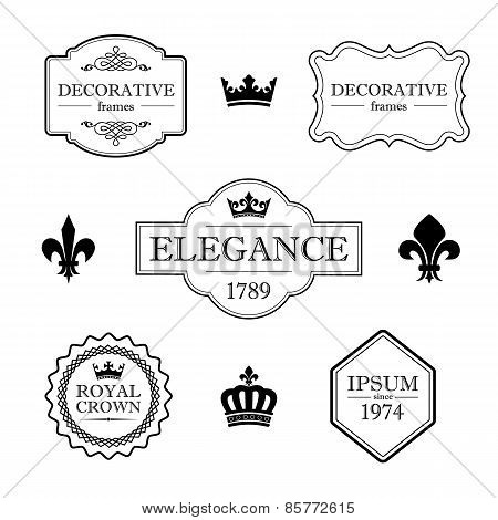 Set of calligraphic flourish vintage design elements - fleur de lis, crowns, frames and borders