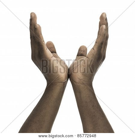 African Descent Male Pleading Hands