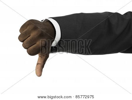 African Descent Businessman With Thumbs Down