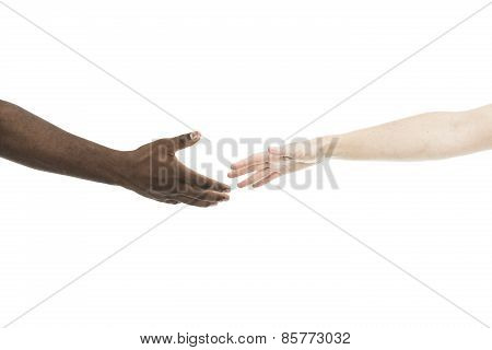 African Male And Caucasian Woman Hands