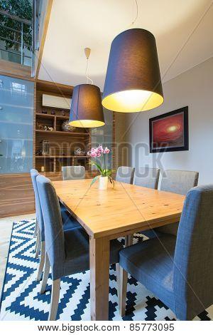 Wooden Table Inside Modern Interior