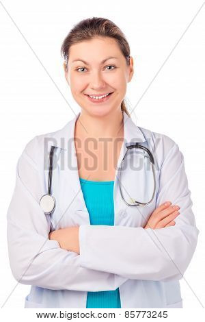 Portrait Of A Beautiful Doctor With Stethoscope