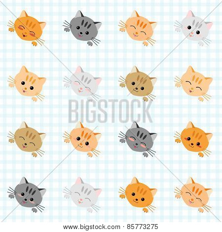Seamless pattern with cute cats. Kitten texture, endless background. Vector.