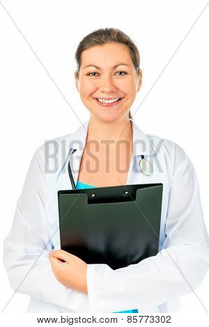 Beautiful And Cheerful Doctor With A Folder