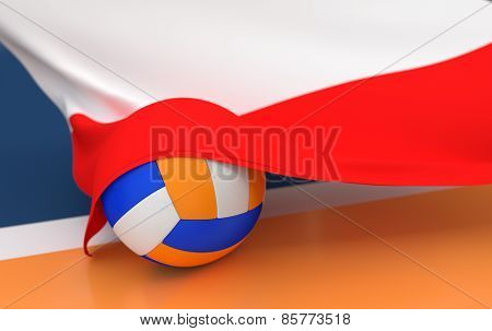 Flag Of Poland With Championship Volleyball Ball