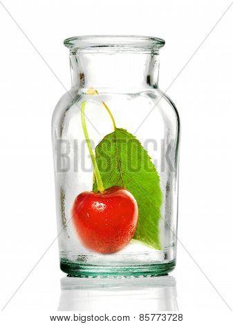 Fresh Cherry Inside Glass Vase