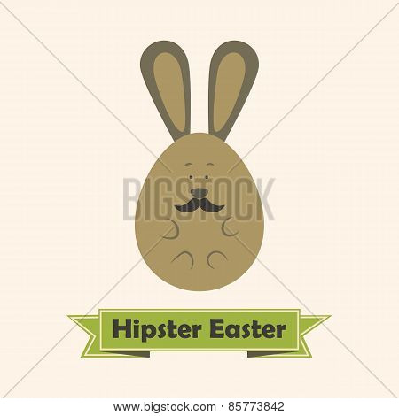 Hipster Easter Greeting Card With Rabbit With Mustache