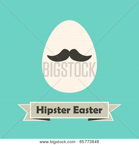 Hipster Easter Holiday Greeting Card With Egg With Mustache