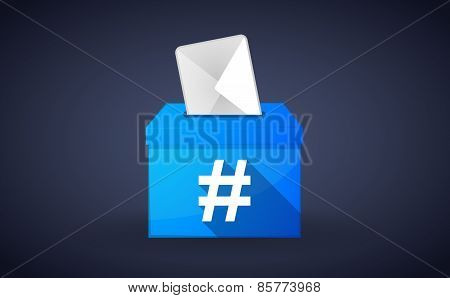 Blue Ballot Box With A Hash Tag