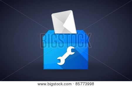 Blue Ballot Box With A Wrench