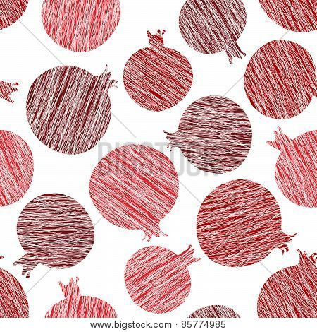 Seamless pomegranate texture. Harvest ornament. Endless fruit background. Vector.